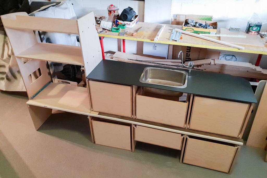 Schubladen Bau für die neuen Camper Möbel