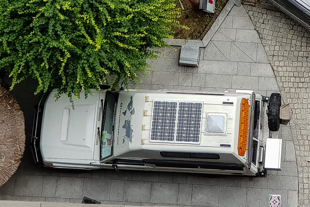 Das Solar Modul auf dem Dach unseres Offroad Campers