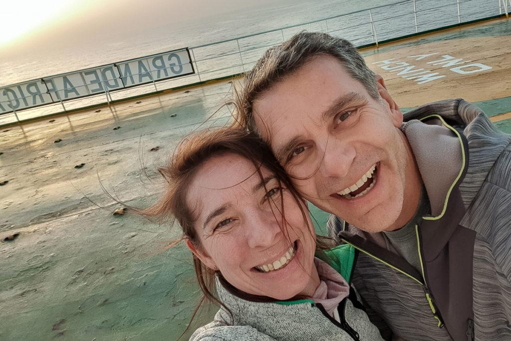 Reni und Marcel Frachtschiffreise von Hamburg nach Montevideo