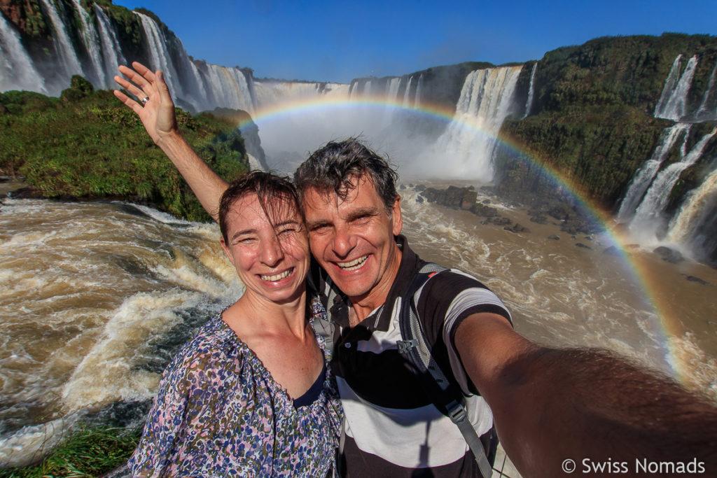 Reni und Marcel Iguazu Wasserfälle