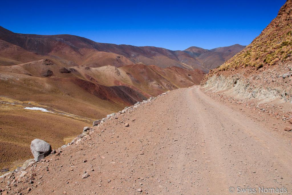 Abfahrt Richtung Süden des Abra del Acay
