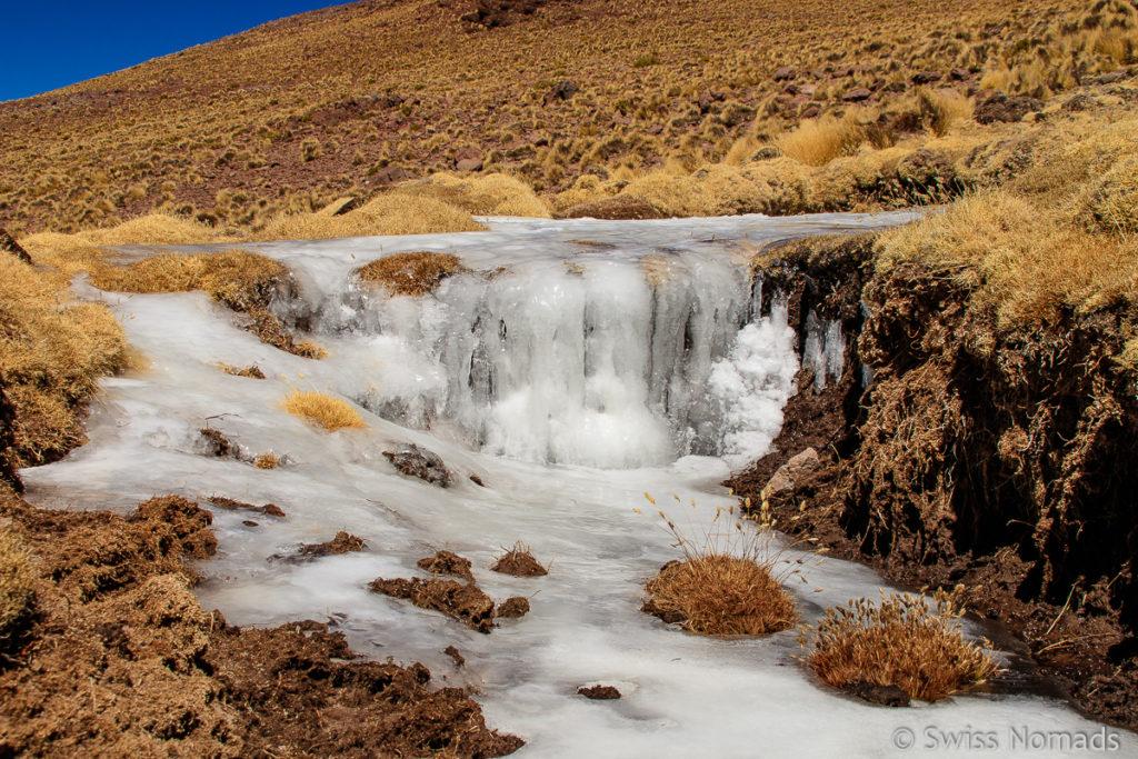 Vereister Wasserfall am Abra del Acay