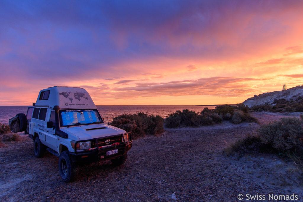 Camping am Punta Flecha in Argentinien