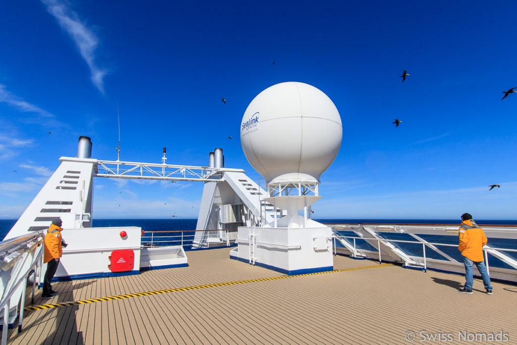 Aussendeck auf dem Expeditionsschiff Ocean Diamond
